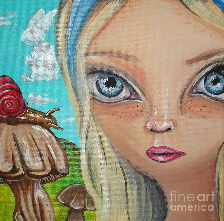 Alice In Wonderland Painting - Alice Finds A Snail by Jaz Higgins