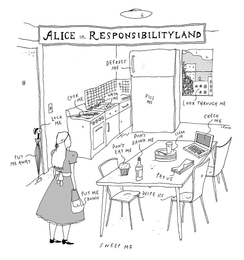Alice In Responsibilityland Drawing by Liana Finck