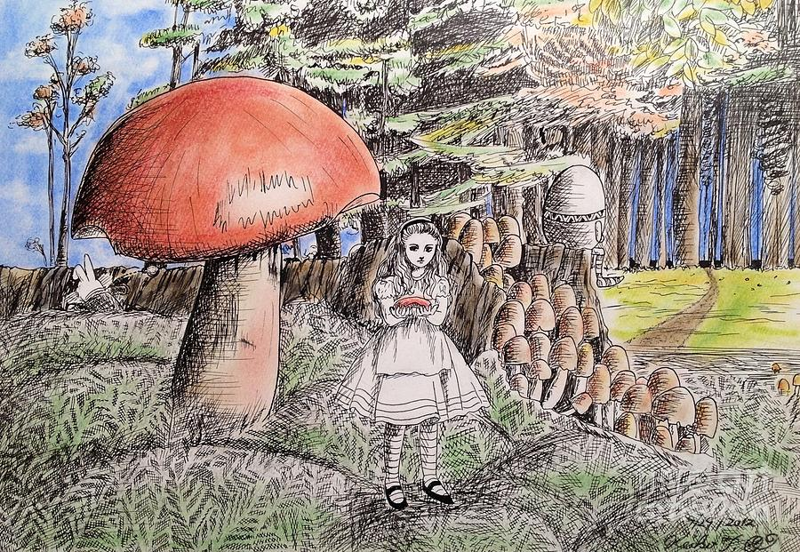 Alice Drawing - Alice In Wonderland 2 by Keiko Olds