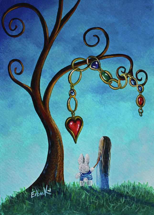 Alice In Wonderland Art - Alice And The Jeweled Tree by Erback Art