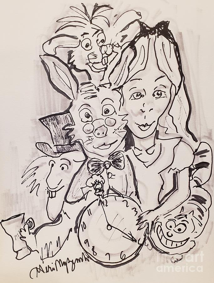 Alice In Wonderland Black And White Version Mixed Media By Geraldine Myszenski