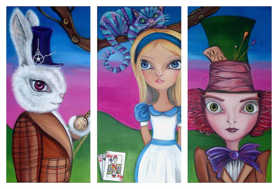 Alice In Wonderland Painting - Alice In Wonderland Inspired Triptych by Jaz Higgins