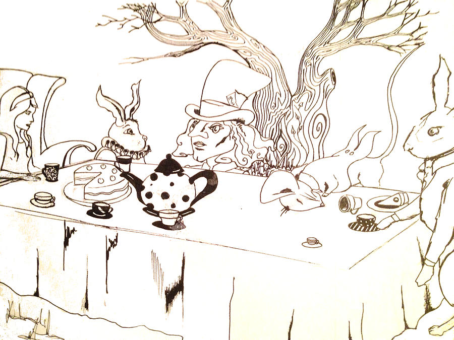 Mad drawing alice in wonderland mad hatters tea party by natalie manifold