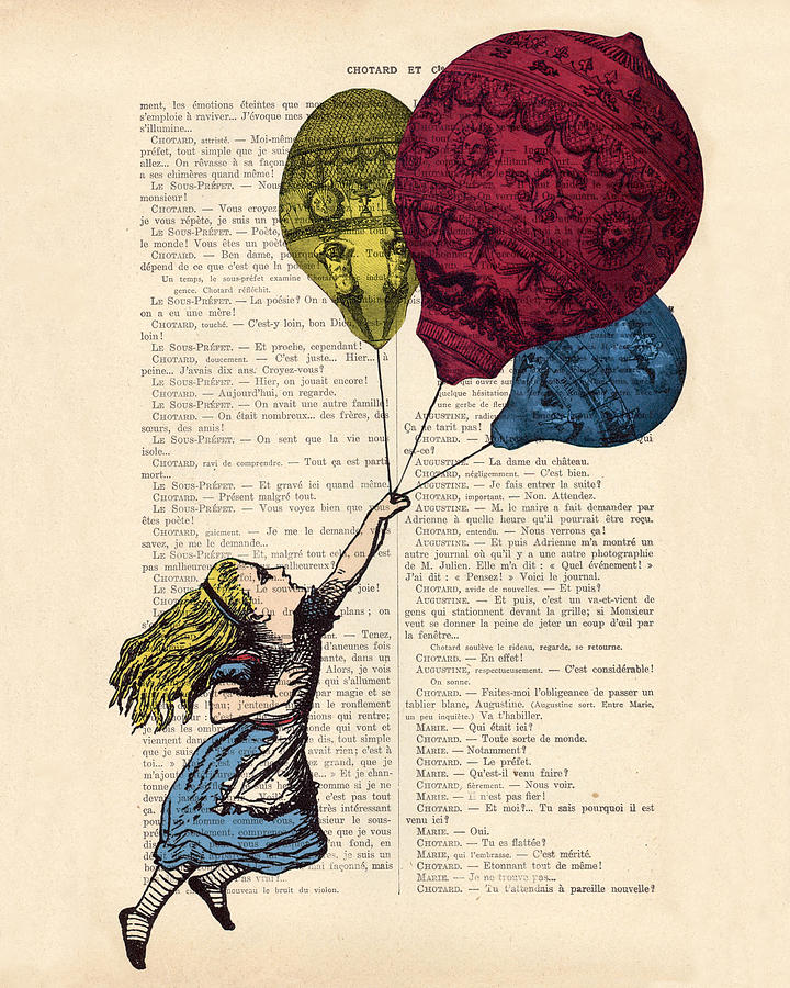 Alice In Wonderland Posters Digital Art - Alice In Wonderland With Big Colorful Balloons by Madame Memento
