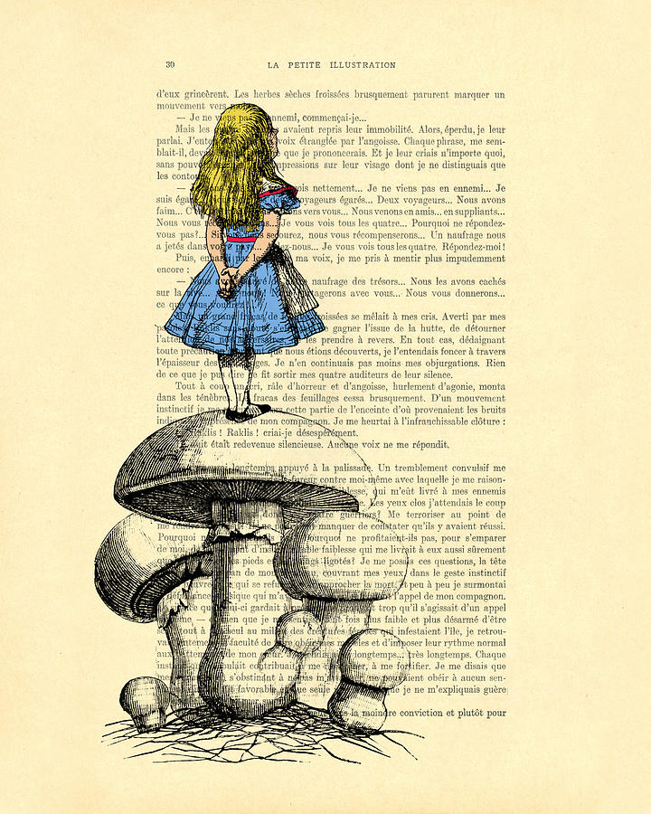 Alice Digital Art - Alice In Wonderland Standing On Giant Mushroom by Madame Memento