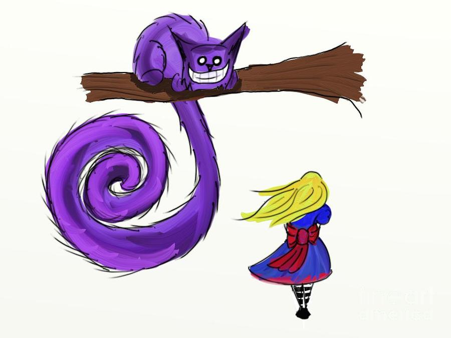 Fantasy Digital Art - Alice Meets The Cheshire Cat by John Mckeever