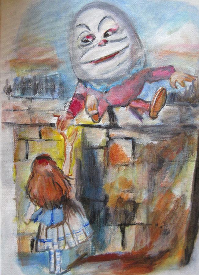 Alice Mixed Media - Alice With Humpty Dumpty by Denice Palanuk Wilson
