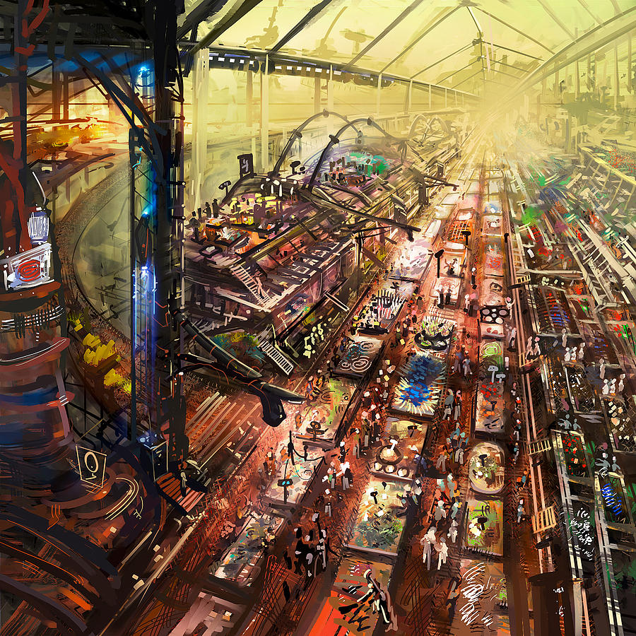 Scifi Mixed Media - Alien Bazaar by Odysseas Stamoglou