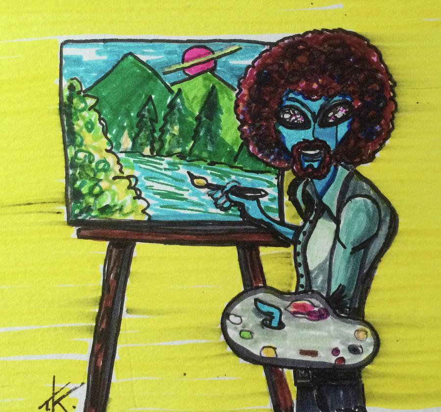 alien Bob Ross Drawing by Similar Alien