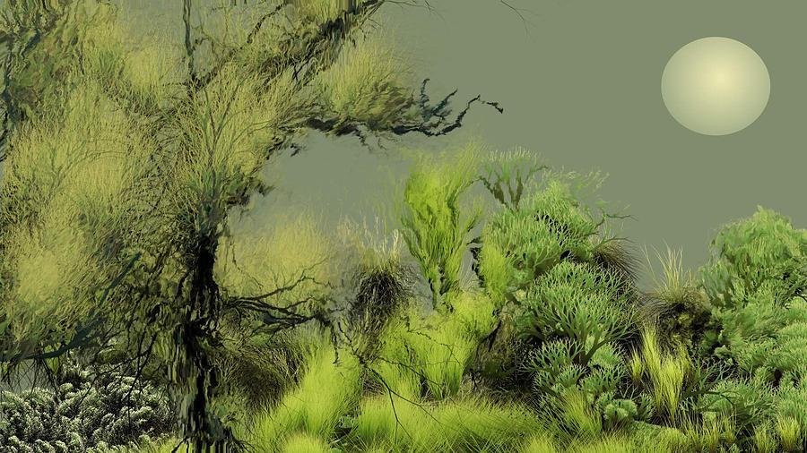 Digital Fantasy Painting Digital Art - Alien Garden 2 by David Lane