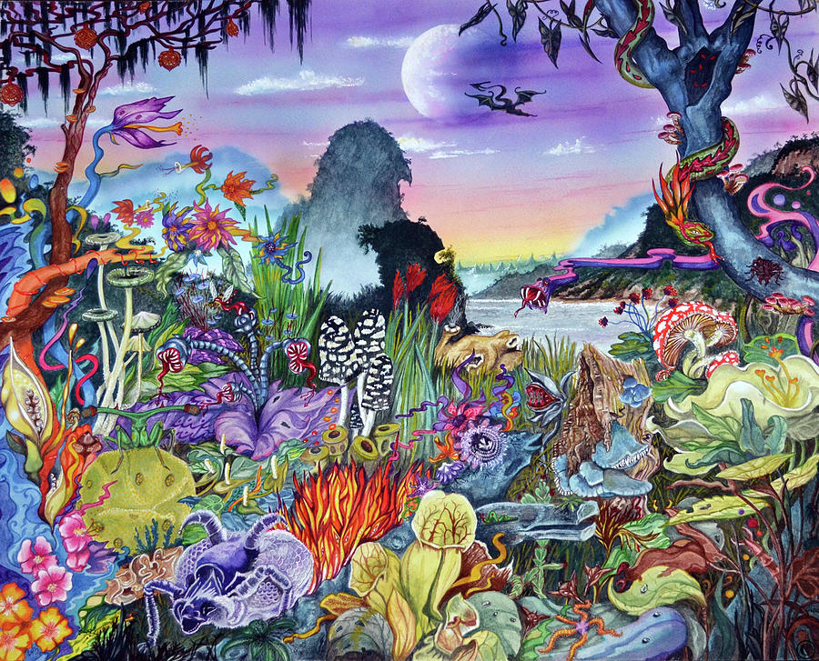 Alien Landscape Painting - Alien Landscape by Liz Baker