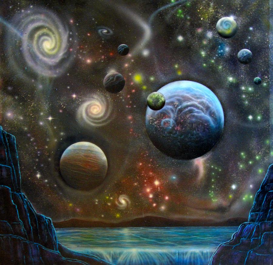 Alien Landscape with Galaxies Planets and Moons Painting ...