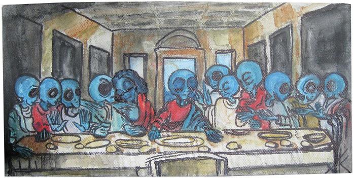 Alien Last Supper Painting by Similar Alien