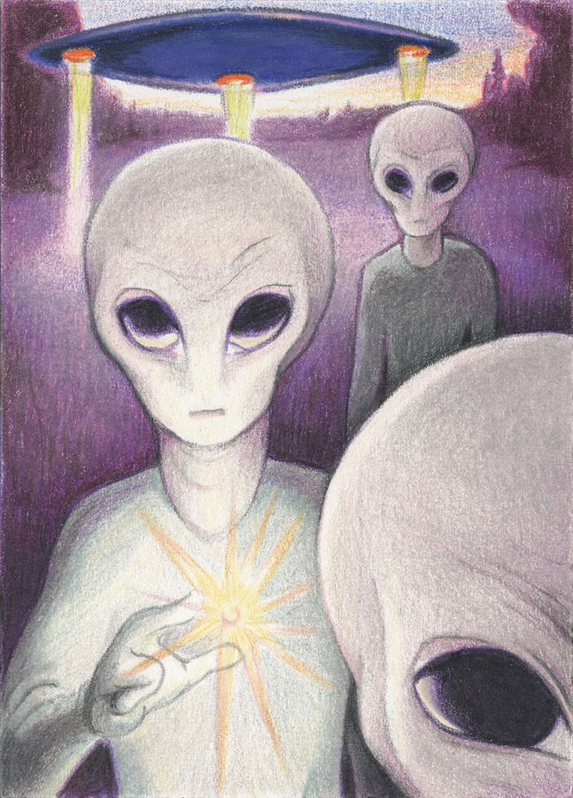 Aliens Drawing - Alien Offering by Amy S Turner