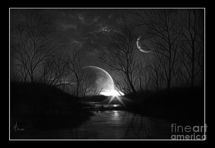 Pencil Drawing - Alien Skies by Murphy Elliott
