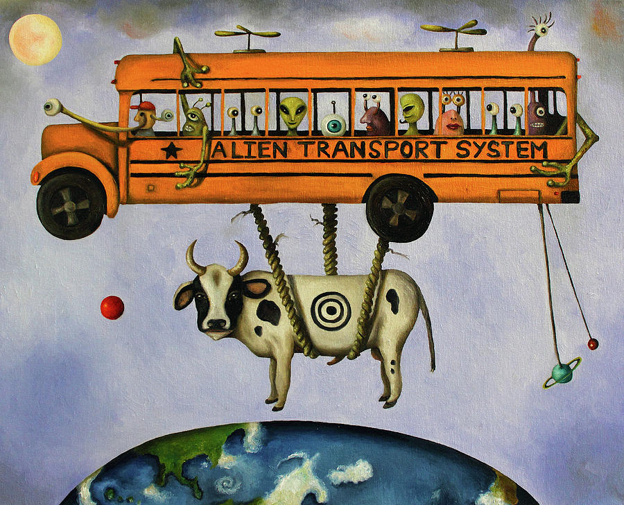 School Bus Painting - Alien Transport System by Leah Saulnier The Painting Maniac