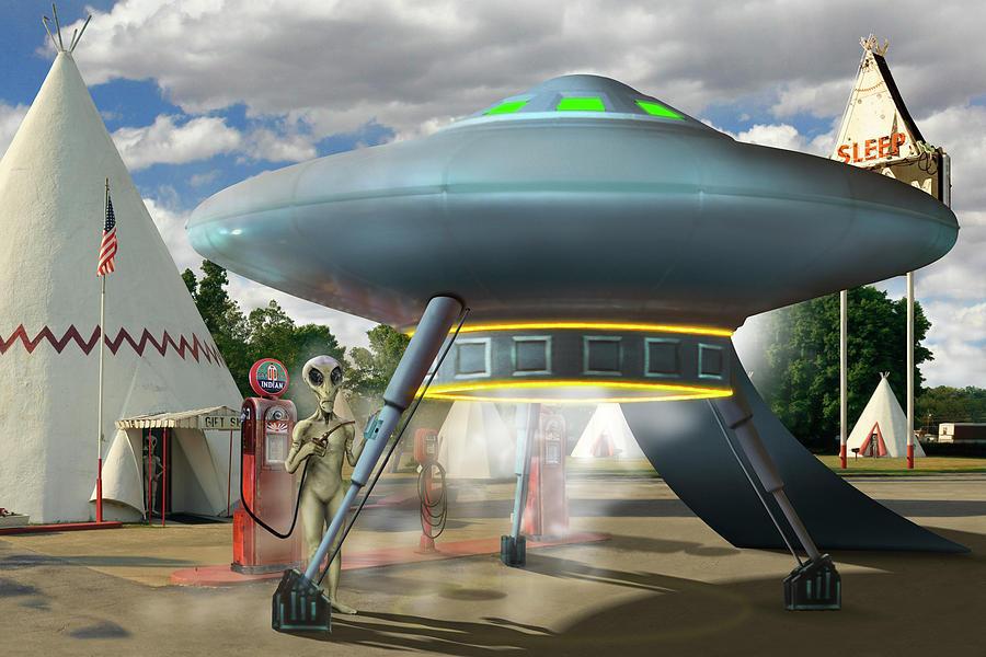 Surrealism Photograph - Alien Vacation - Gasoline Stop by Mike McGlothlen