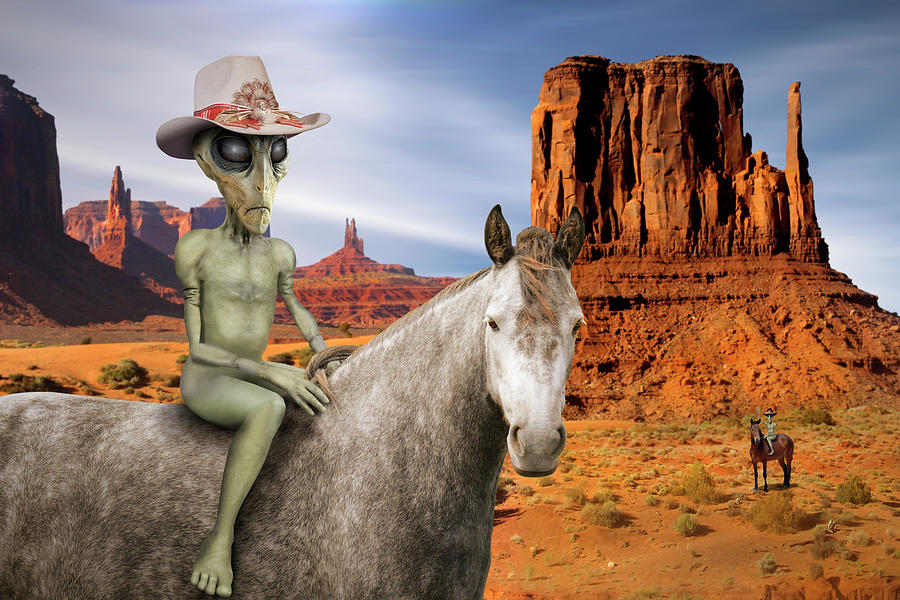 Surrealism Photograph - Alien Vacation - Monument Valley by Mike McGlothlen