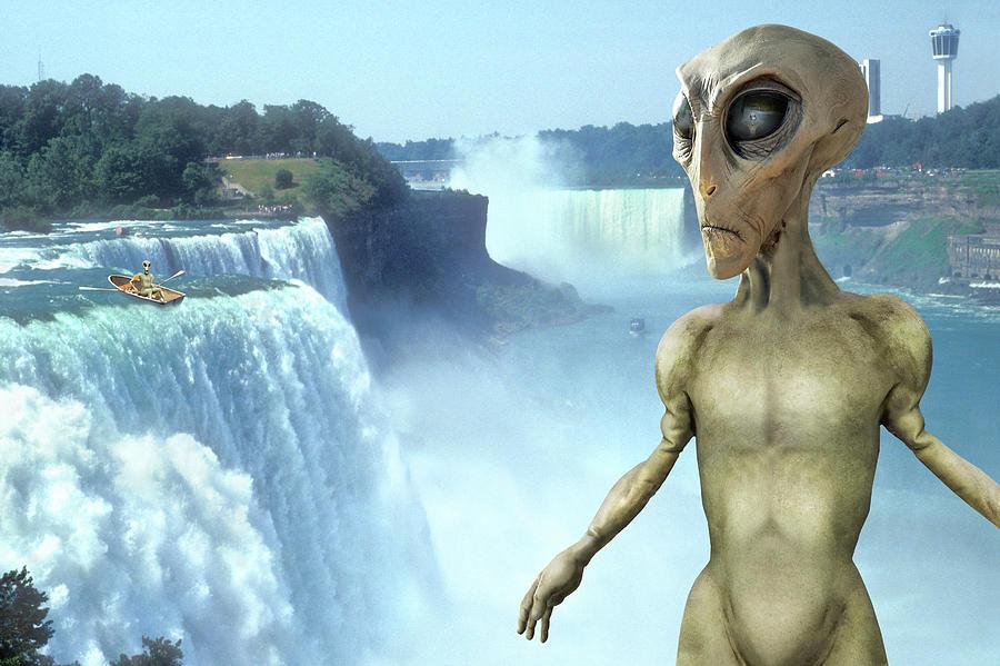 Niagara Falls Photograph - Alien Vacation - Niagara Falls by Mike McGlothlen