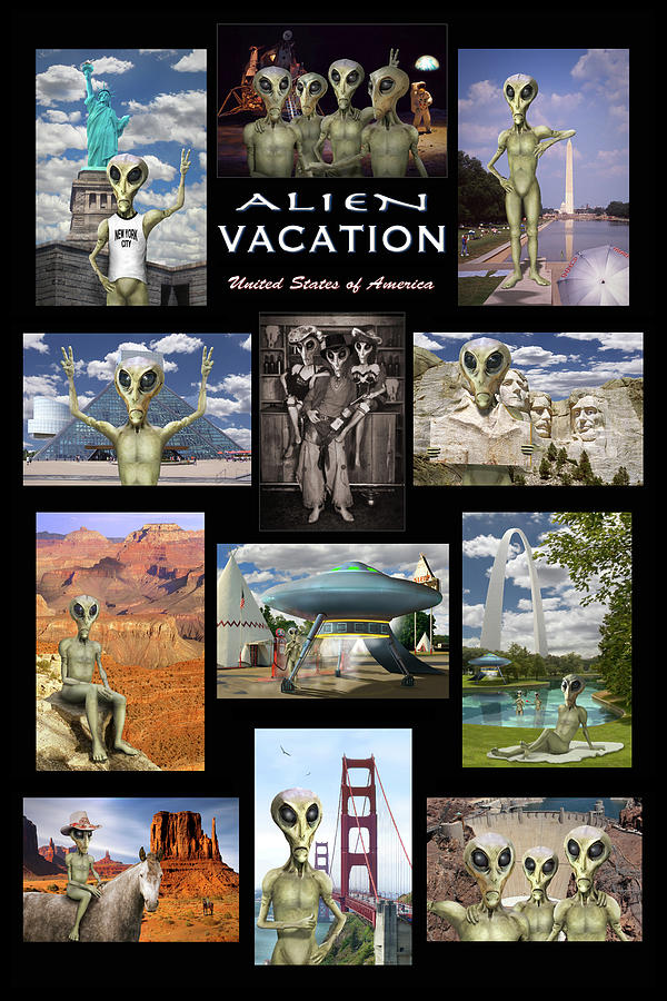 Time Square Photograph - Alien Vacation - Poster by Mike McGlothlen