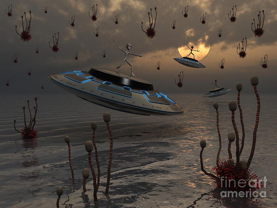 Anthropomorphic Digital Art - Aliens Celebrate Their Annual Harvest by Mark Stevenson
