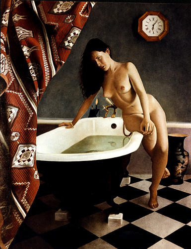Female Painting - Alison On Bath by Toby Boothman