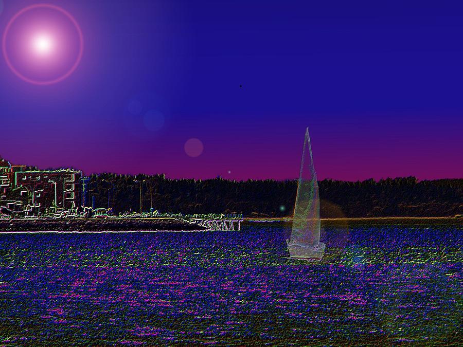 Seattle Digital Art - Alki Ghost Sail by Tim Allen
