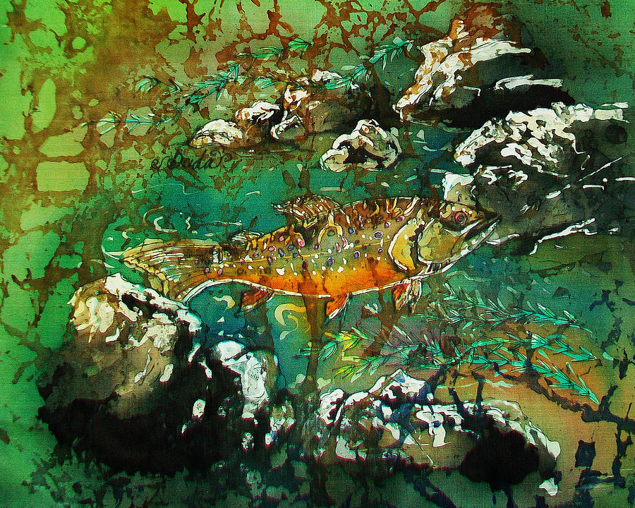 Trout Painting - All About Trout by Sue Duda