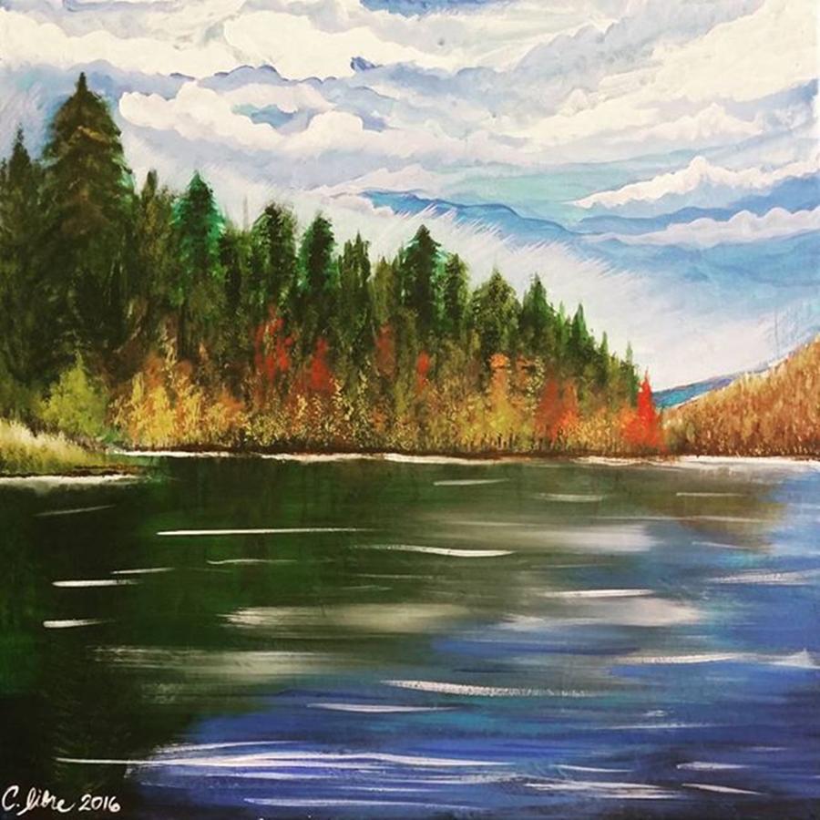 Autumn Lake Painting by Cariza Libre