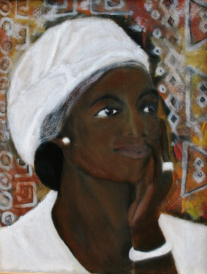 Lady Painting - All Dressed In White by Neena Alapatt