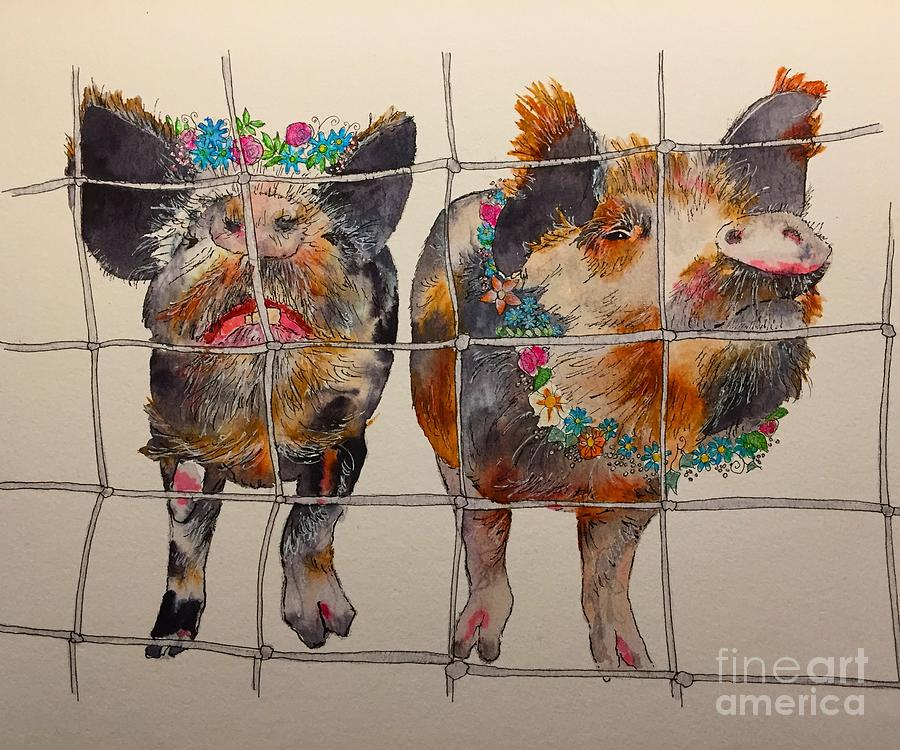 Pigs Painting - All Dressed Up And Nowhere To Go by Victoria Heryet