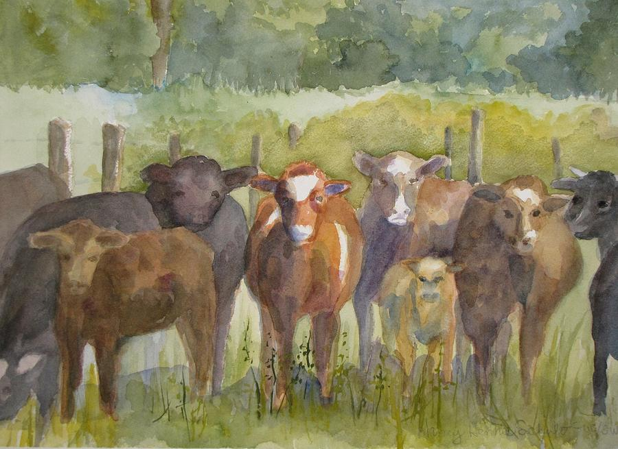 Cows Painting - All Eyes Are On You by Nancy Henkel Schulte