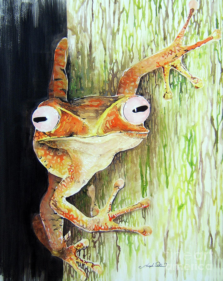 Tree Frog Painting - All Eyes On You by Joseph Palotas