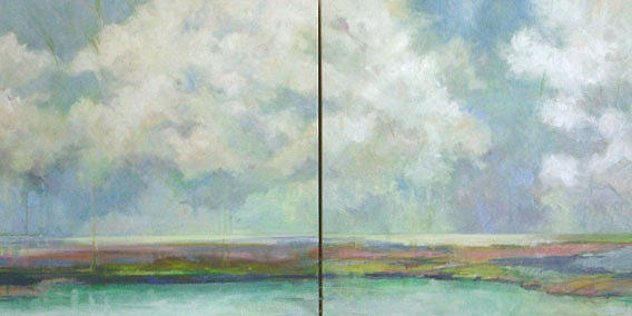 Abstract Landscape Painting - All Good Souls- diptych by Marilyn Muller