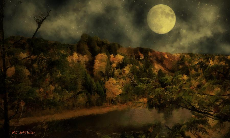 Landscape Painting - All Hallows Moon by RC DeWinter