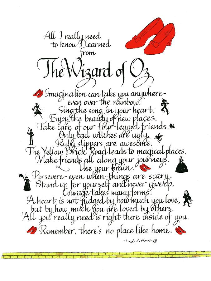 Wizard Of Oz Mixed Media - All I need to know I learned from The Wizard of Oz by Linda Harris