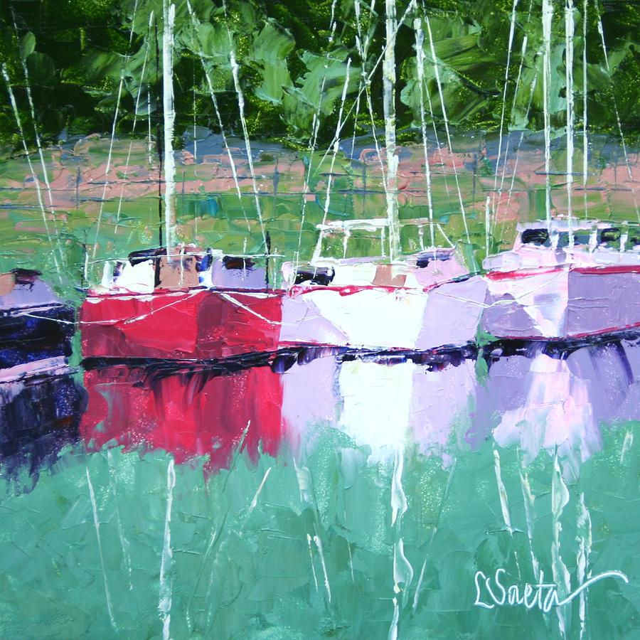 Boats Painting - All In A Row by Leslie Saeta
