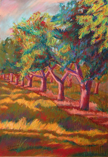 Landscape Painting - All In A Row by Tracey Flanigan