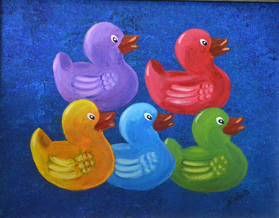Acrylic Painting - All My Ducks In A Row by Nancy Otey