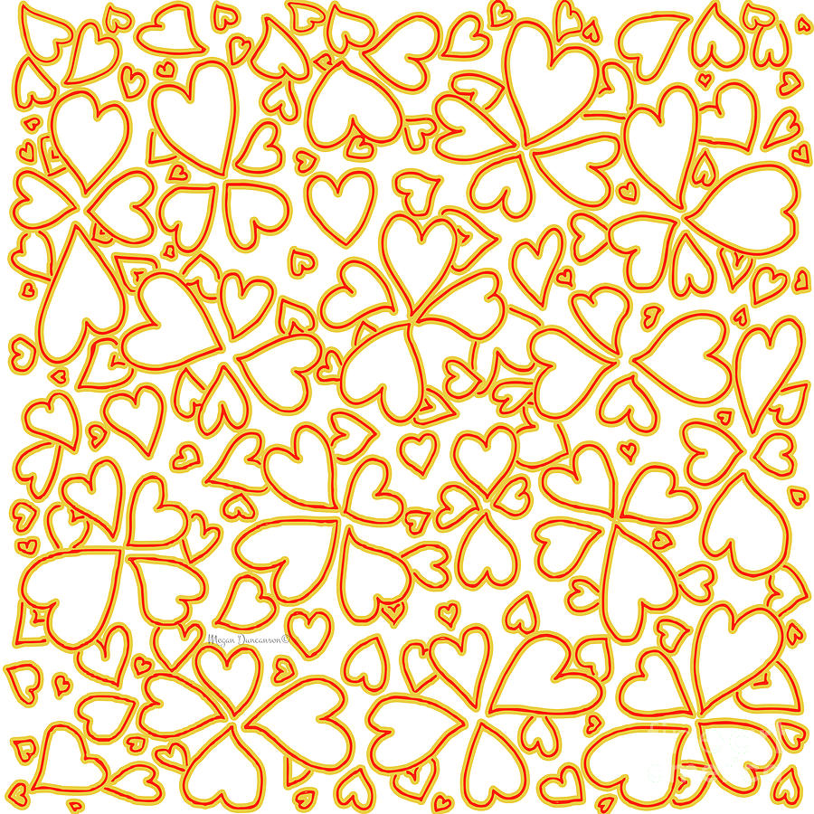 All Over Hearts Pattern Design Floral Fiesta I By Megan Duncanson ...