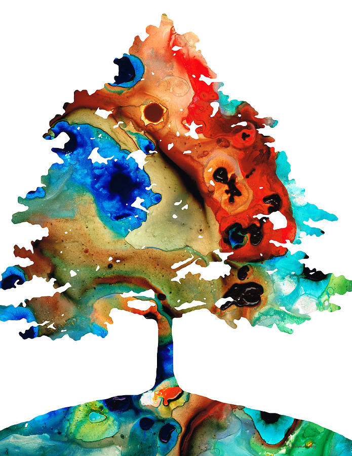 Tree Painting - All Seasons Tree 3 - Colorful Landscape Print by Sharon Cummings