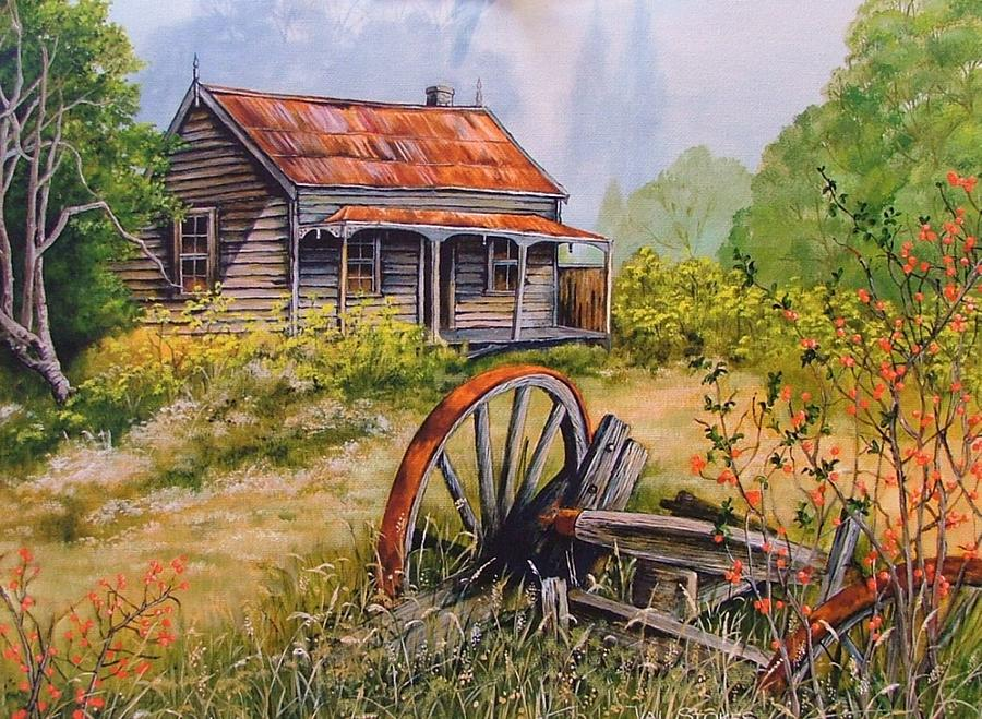 Rustic Painting - All That  Remains by Val Stokes