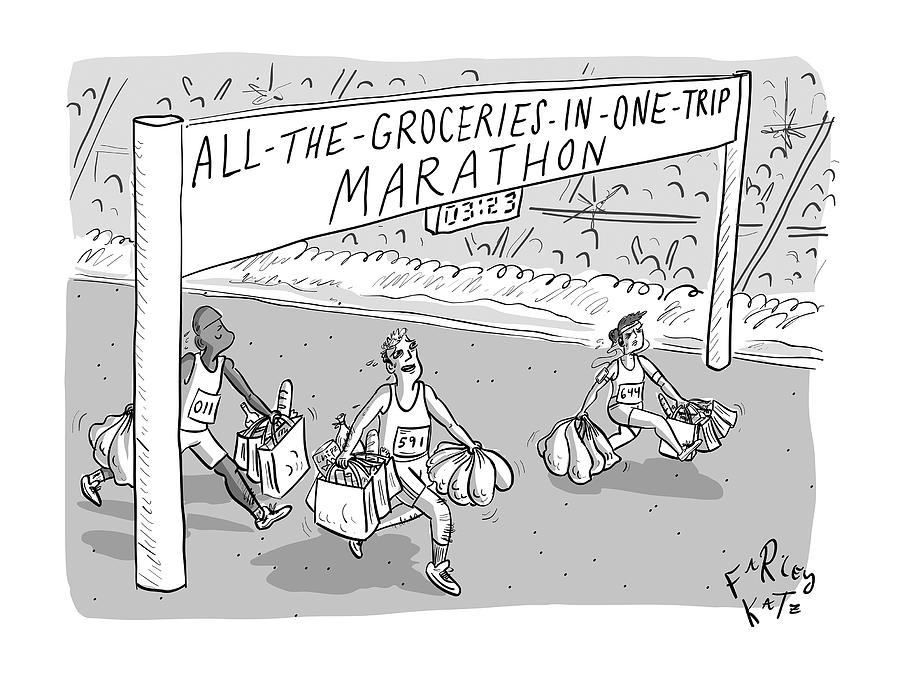 All-the-Groceries-in-One-Trip Marathon Drawing by Farley Katz