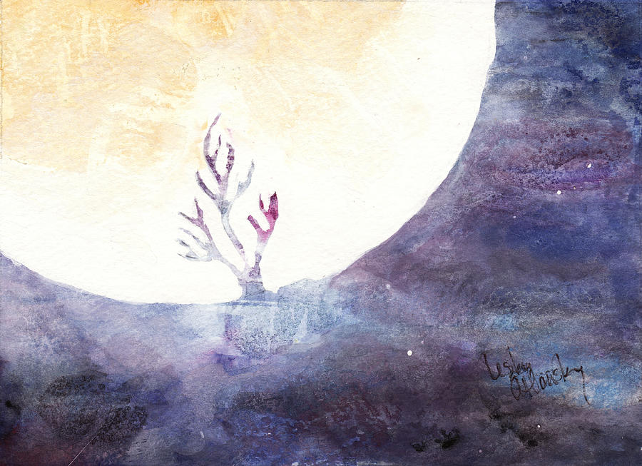 Moon Painting - All The Magic Of The Earth And The Skies by Lesley Atlansky
