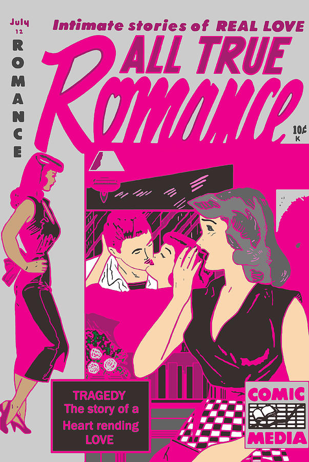 Comic Digital Art - All True Romances 5 Pinks by Joy McKenzie