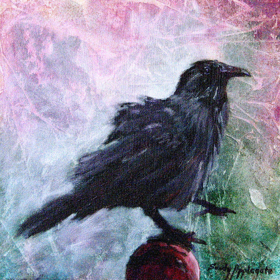 Raven Painting - All Undaunted by Sandy Applegate