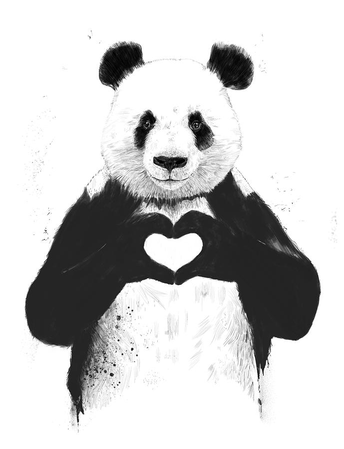 Panda mixed media all you need is love by balazs solti