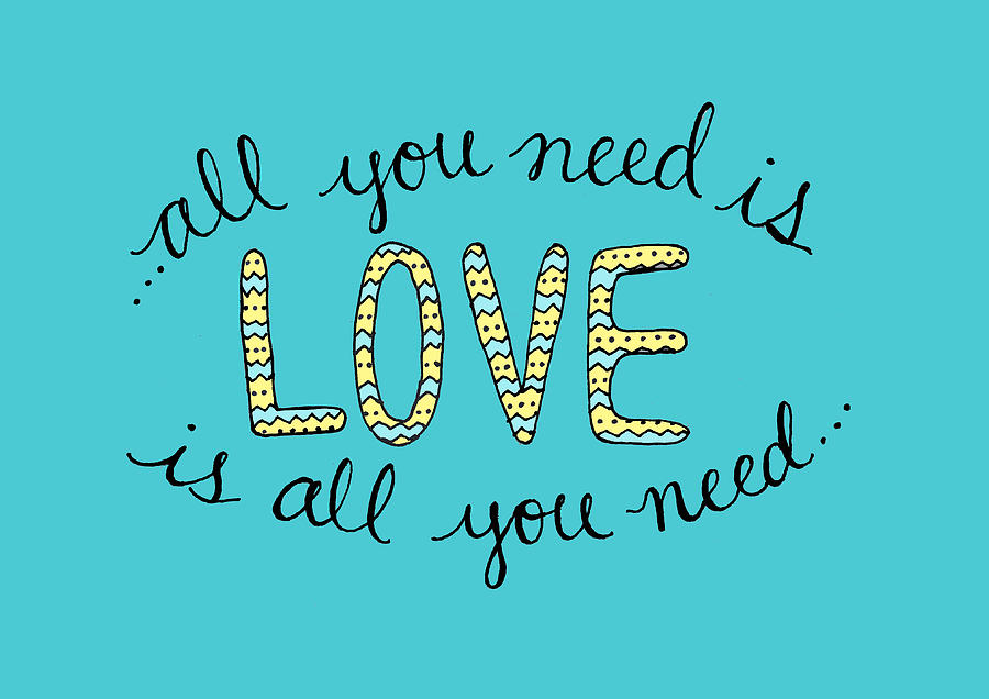 All You Need Is Love Digital Art - All You Need Is Love Blue And Yellow by Michelle Eshleman