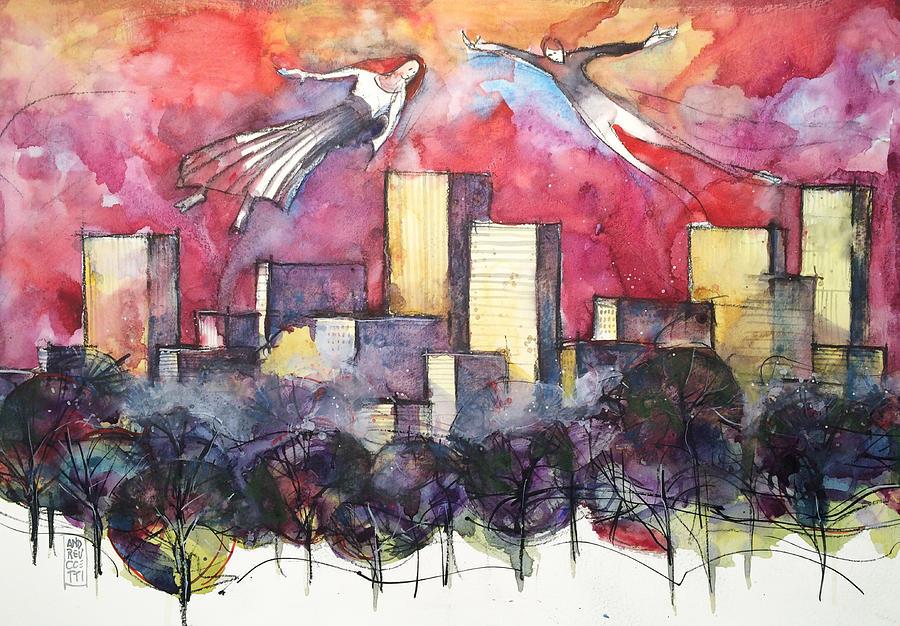 Towers Painting - Alla Ricerca Dellanima Gemella by Alessandro Andreuccetti