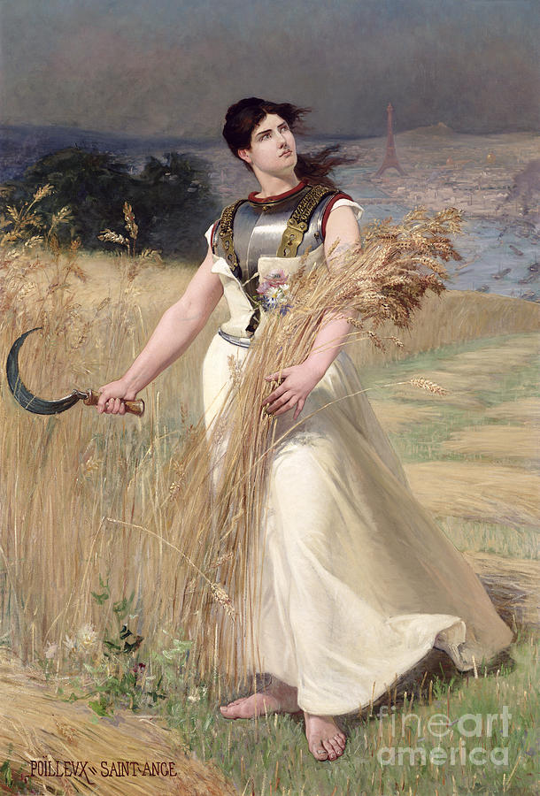 Female; Allegorical; Harvest; Corn Field; Scythe; Agriculture; Eiffel Tower; Paris; River Seine; Cutting; Harvesting; Abundance; Symbolist; Sickle; Symbol Painting - Allegory Of France by Georges Louis Poilleux Saint Ange